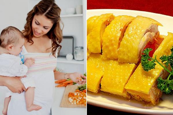 phụ nữ sinh mổ sau bao lâu thì được ăn thịt gà
