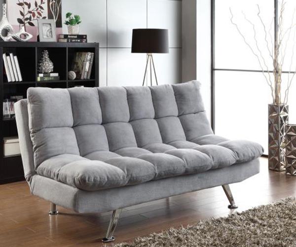 Mang màu xám nhạt trung tính, thiết kế chiếc sofa giường đơn giản